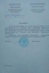 Благодарность Отдел образования Вороновского района